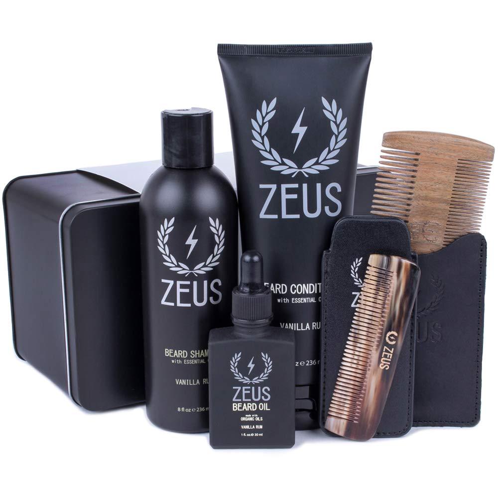 Zeus Executive Beard Care Kit - Grooming Tools & Beard Care Set for Men! (Scent: Vanilla Rum)