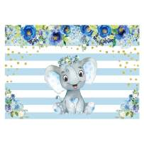 Funnytree 7x5ft Blue Floral Elephant Party Backdrop Striped Flowers Boy Baby Shower Birthday Photography Background Watercolor Gold Sprinkle Cake Table Decoration Photobooth Studio Props