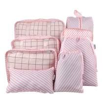 Belsmi 8 Set Packing Cubes - Waterproof Mesh Compression Travel Luggage Packing Organizer with Shoes Bag (Pink Stripe)