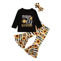 Baby Girl Sunflower Outfits Black T-Shirt Tops Floral Stripe Bell Bottome Flare Pants Headband 3PCS Clothes Set