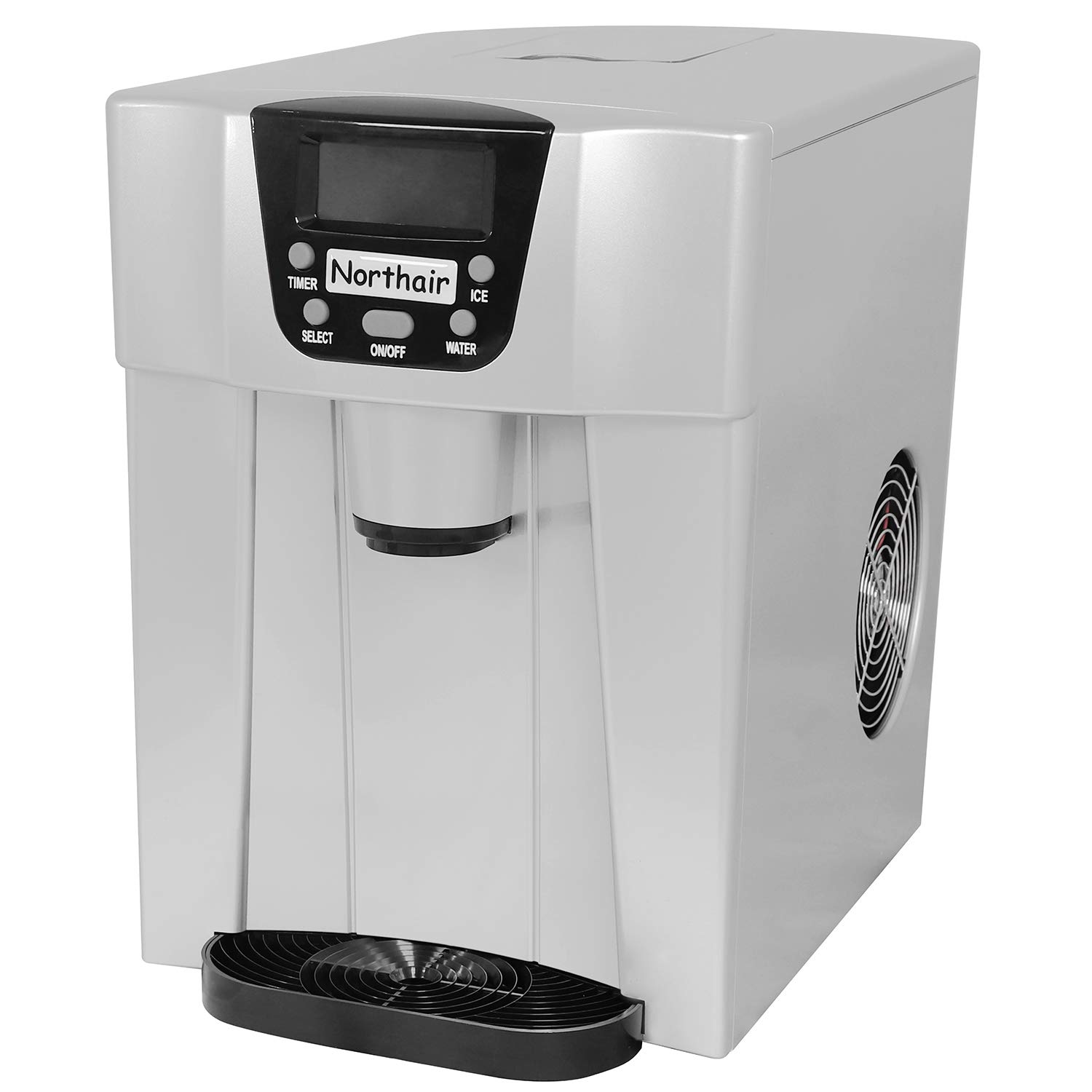 Northair 24 Hour Ice Maker and Water Dispenser with Automatic Shut-down System,S-L 2 Size Bullet Ice, with LCD Display,Silver