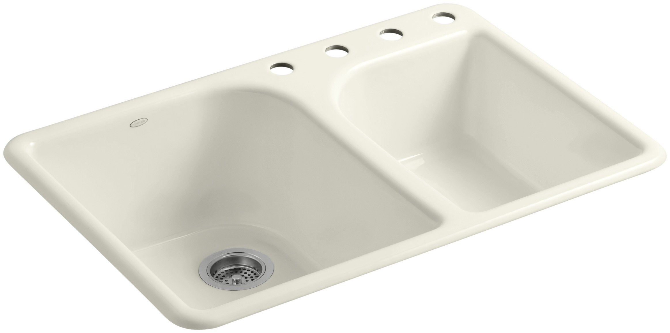 KOHLER K-5932-4-96 Executive Chef Self-Rimming Kitchen Sink, Biscuit