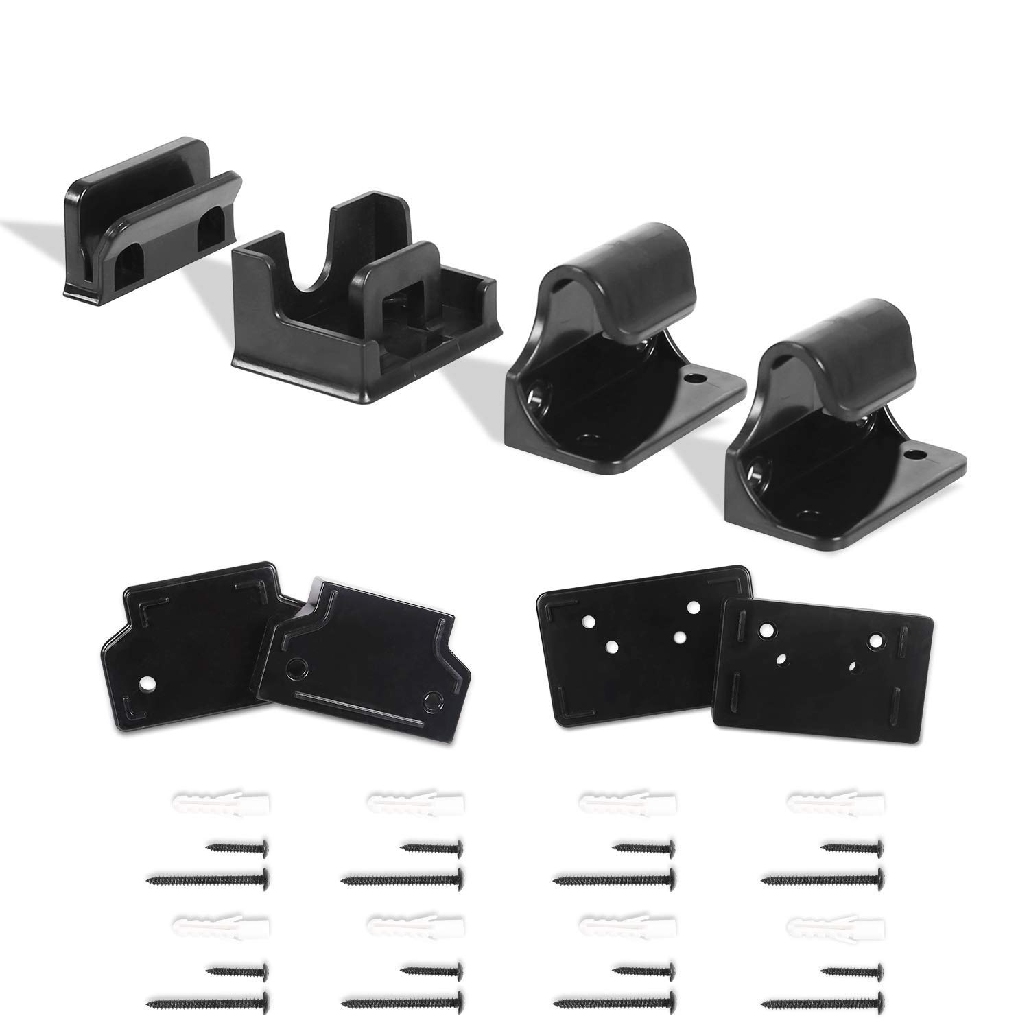 Babepai Hardware Replacement Parts Kit for Retractable Baby Gate, Full Set Wall Mounting Accessories Brackets Screws Wall Spacer Black
