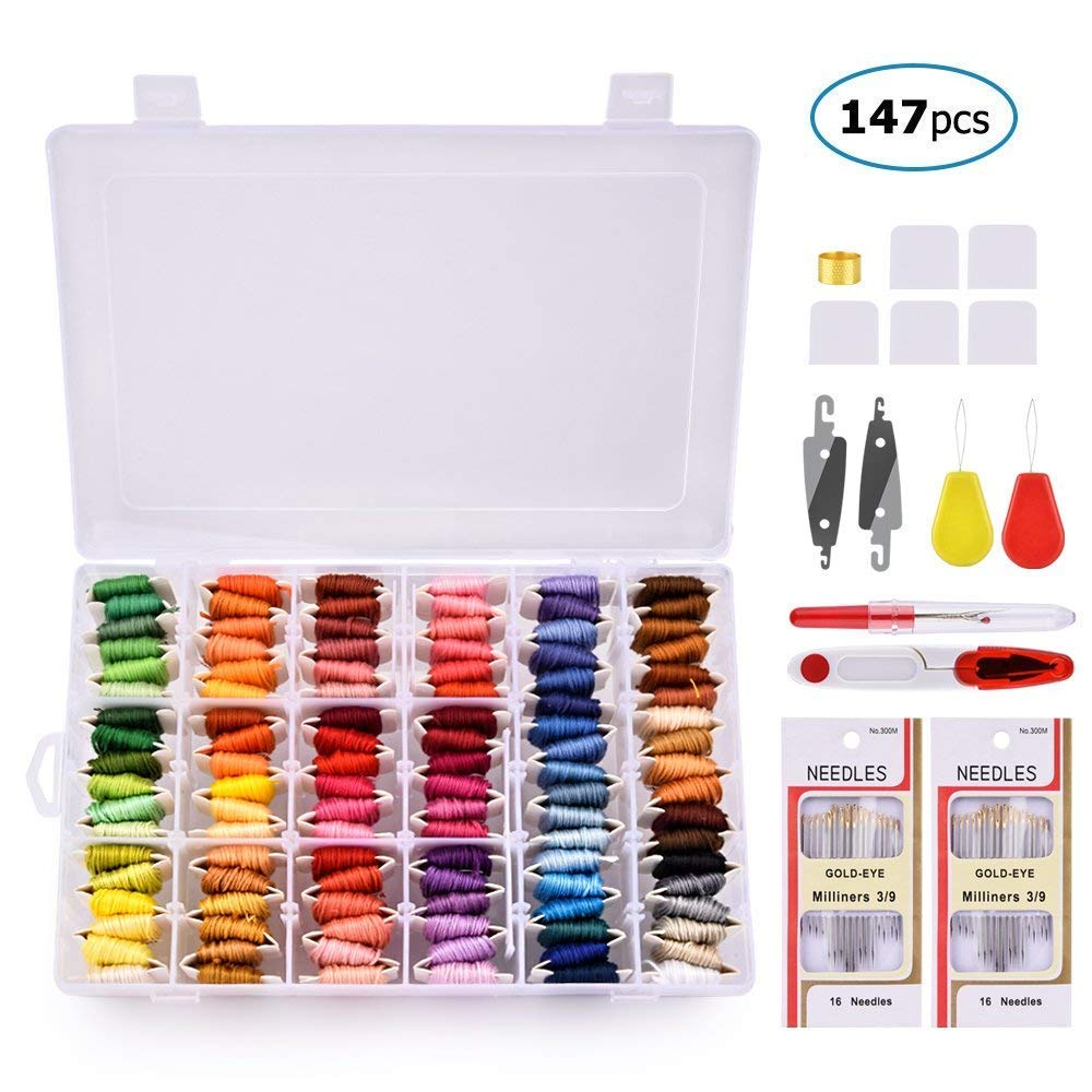 BASEIN Embroidery Floss with Organizer Storage Box, 108 Colors Friendship Bracelets Floss String Embroidery Thread String Kit with 39 Pcs Cross Stitch Kits Tools