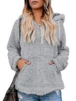 Umeko Womens Hoodies Sherpa Pullover Fuzzy Hooded Fall Casual Sweatshirt Fleece Winter Coats with Pockets