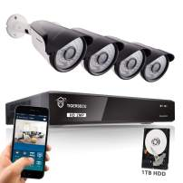 TIGERSECU Super HD 1080P H.265+ 8-Channel Security DVR Kit with 1TB Hard Drive and 1080P Weatherproof Cameras, Supports Analog and ONVIF IP Cameras