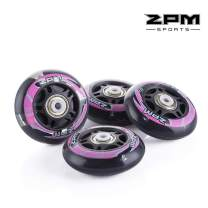 2PM SPORTS Inline Skate Replacement Wheels with White Light,82A 76mm / 70mm Pu Wheels with ABEC-7 Bearings, Pack of 4
