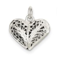 925 Sterling Silver Filigree Heart Pendant Charm Necklace Love Fine Mothers Day Jewelry For Women Gifts For Her