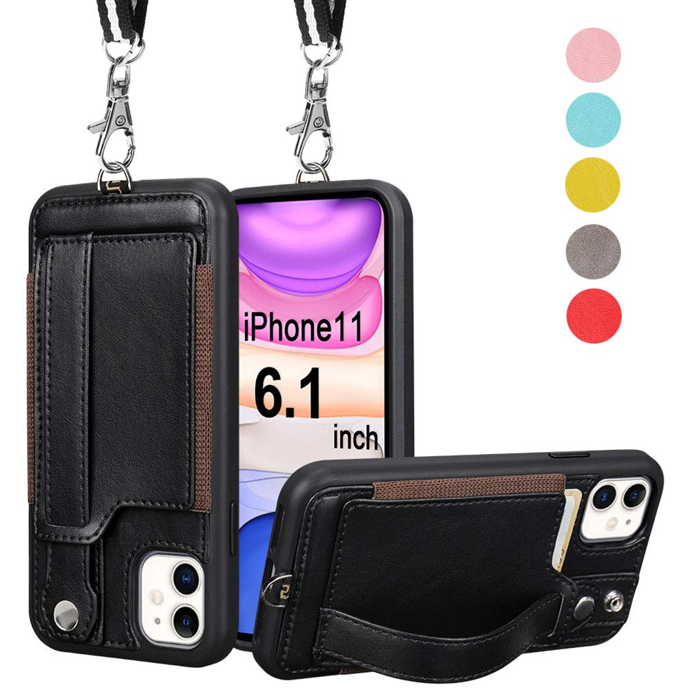 TOOVREN iPhone 11 Wallet Case, iPhone 11 Case Protective Cover with PU Leather Card Holder Adjustable Detachable iPhone Lanyard Stand Strap for iPhone 11 6.1 Inch 2019 Black