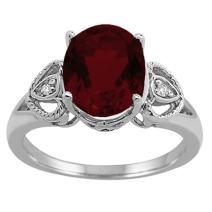 Oval Garnet and Diamond Ring in 10K White Gold