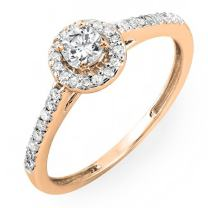 Dazzlingrock Collection 0.50 Carat (ctw) 18k Gold Round Cut Diamond Ladies Engagement Bridal Halo Ring 1/2 CT
