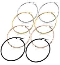 4 Pairs Stainless Steel Rounded Hoop Earrings Set Big Hoop Earrings for Women (15MM-70MM)