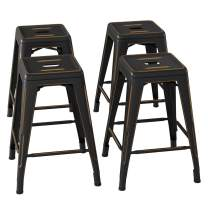 Bonzy Home Bar Stools Set of 4, 24 inch Backless Metal Barstools, Distressed Designed, Stackable Home Kitchen Dining Stool, Indoor Outdoor Patio Bar Chair - Distressed Black Gold
