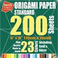 [Taro's Origami Studio] Standard 6 Inch One Sided 23 Colors 200 Sheets Square Easy Fold Premium Japanese Paper for Beginner (Gold and Silver Included)