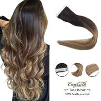 Easyouth 14inch Tape in Hair Extensions Color 1B Off Black Fading to 8 Highlighted with 22 80 Gram per Pack 40 Pieces Balayage Color Human Hair Skin Weft Tape Extensions