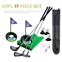Golf Pro Set Toy for Kids Toddlers Meatl Golf Clubs Flags Practice Balls Sports Indoor Game Golf 24 inch Training 17 PCS w/Backpack
