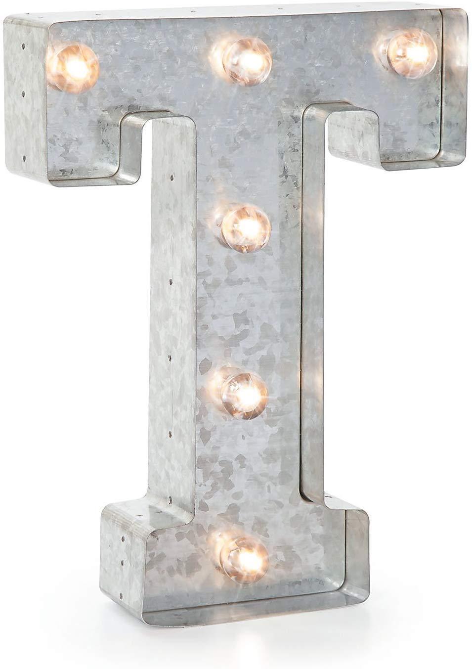 "Darice Silver Metal Marquee Letter – T - 9.87"" Tall, Galvanized Silver Finish"
