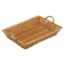 """Natural Color Wicker Basket Rectangular with Handles - 14""""L x 10""""W x 2 1/2""""H"""