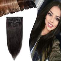 20 Inch Human Hair Clip in Hair Extensions Thin 7pcs 15 Clips Remi Hair Clip on Human Hairpieces 70g Strong Machine Weft Silky Straight for Women #1B Off Black