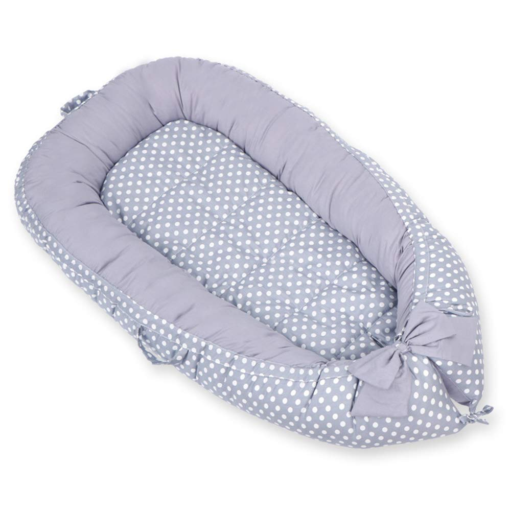 Abreeze Baby Bassinet for Bed Banana Leaf Polka Dot-Grey Breathable & Hypoallergenic Co-Sleeping Baby Bed - 100% Cotton Portable Crib for Bedroom/Travel 0-24Month