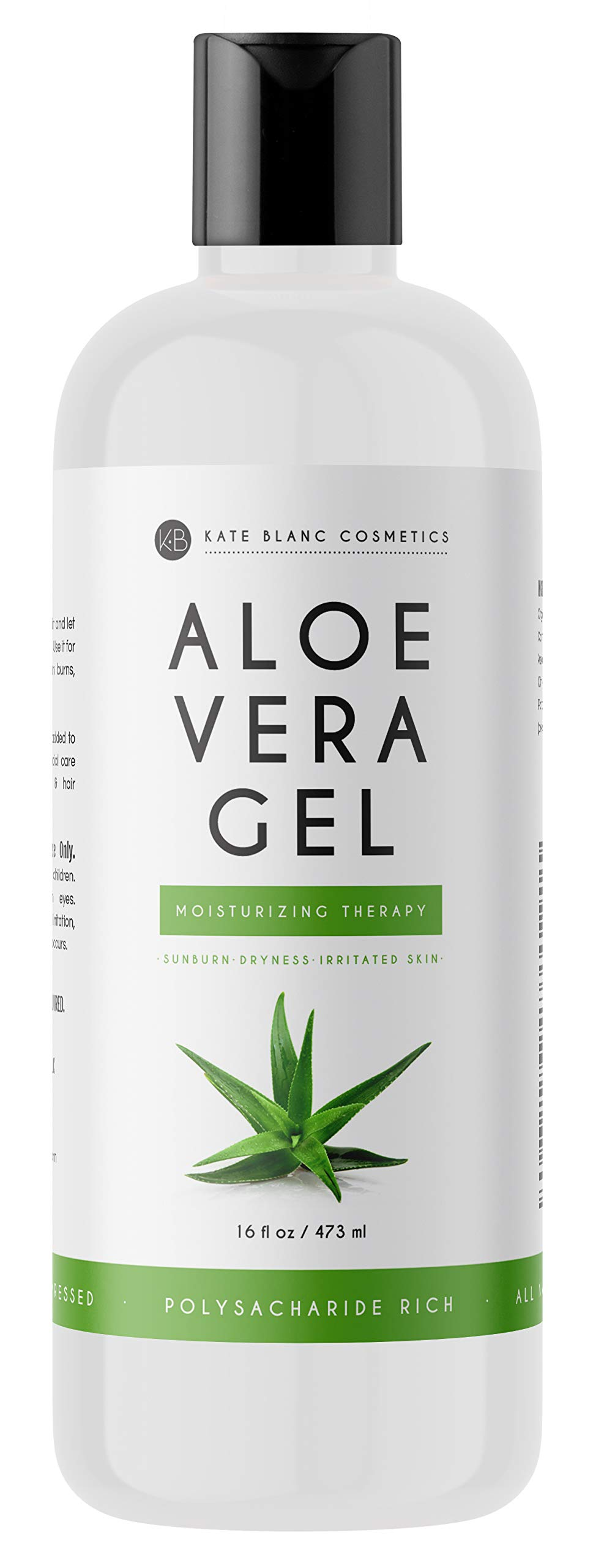 Aloe Vera Gel from Freshly Cut Organic Pure Aloe Plant by Kate Blanc. Great for Hair and Face. Relieves Sunburn, Dry Scalp, Irritated Skin with No Sticky Residue.