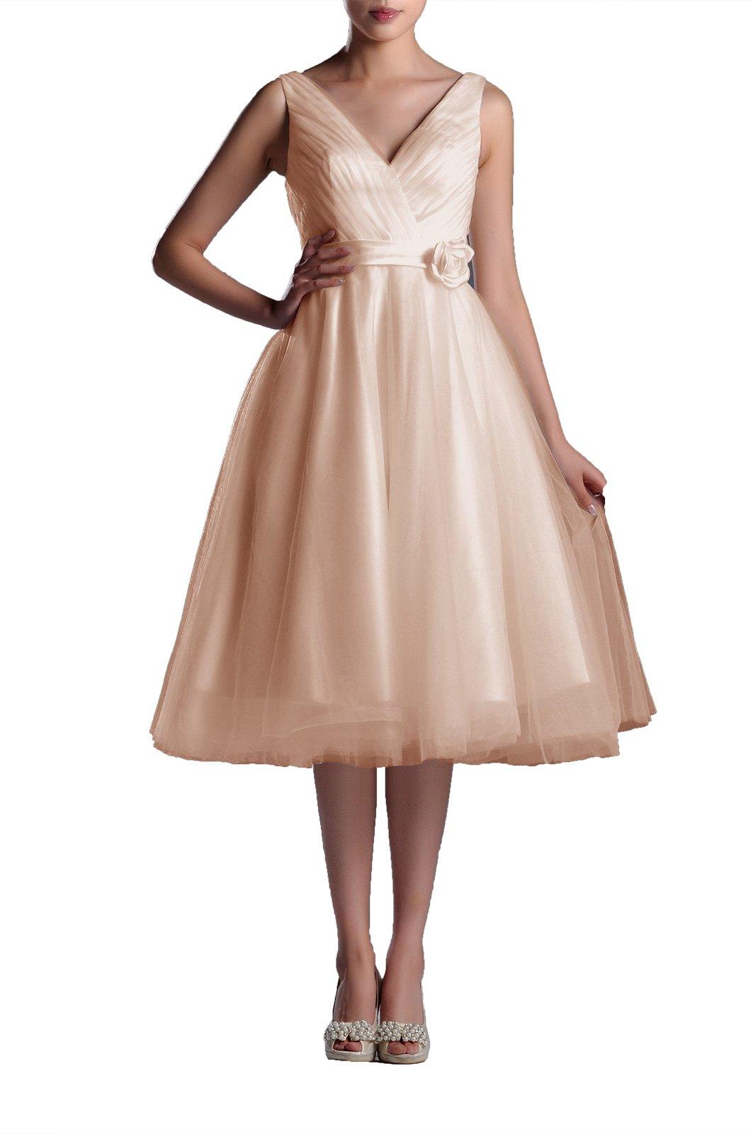 Wedding Dresses V-Neck Bridal Gowns Simple A-line Tea Length Wedding Dress Bride Short