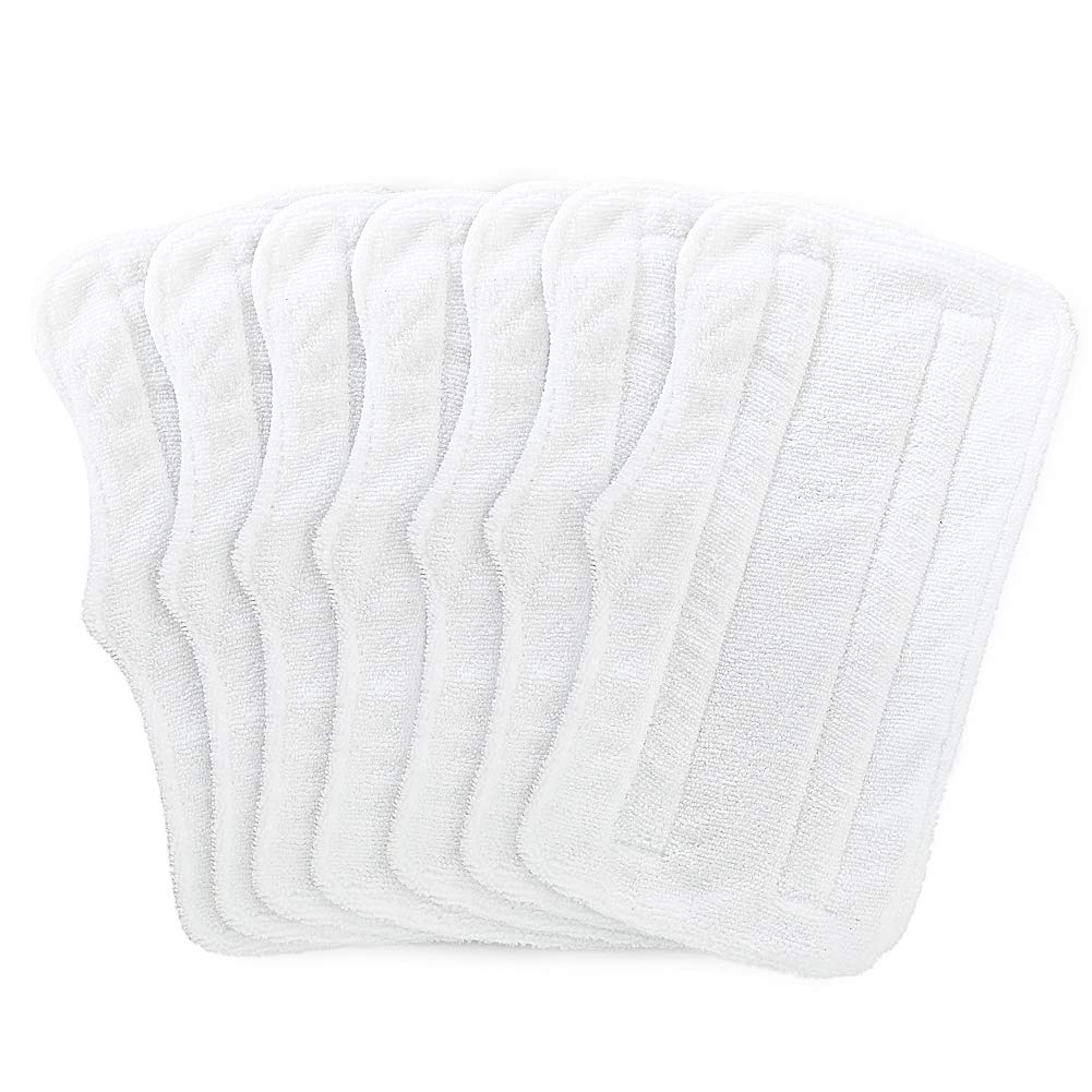 Fushing 7Pcs Steam Mop Pads, Washable Microfiber Cleaning Steamer Replacement Pads for Shark Steam & Spray Mop S3101 S3251 SK460 SK410 S3101n2 S3250 SK435CO SK140 SK141,White