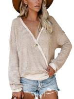 Lynwitkui Women's Sweaters Casual V-Neck Wrap Pullover Waffle Knitted Top Shirts