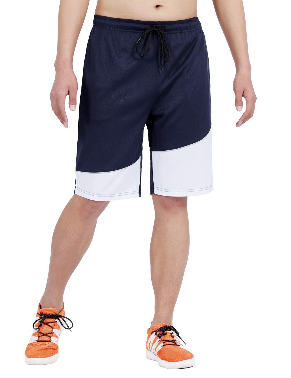 DISHANG Men's Cool Basketball Shorts Mesh Quick Dry Gym Shorts with Pocket
