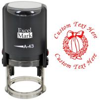 Custom Self-Inking Christmas Rubber Stamp - Wreath - Red Ink