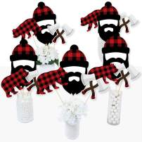 Big Dot of Happiness Lumberjack - Channel the Flannel - Buffalo Plaid Party Centerpiece Sticks - Table Toppers - Set of 15