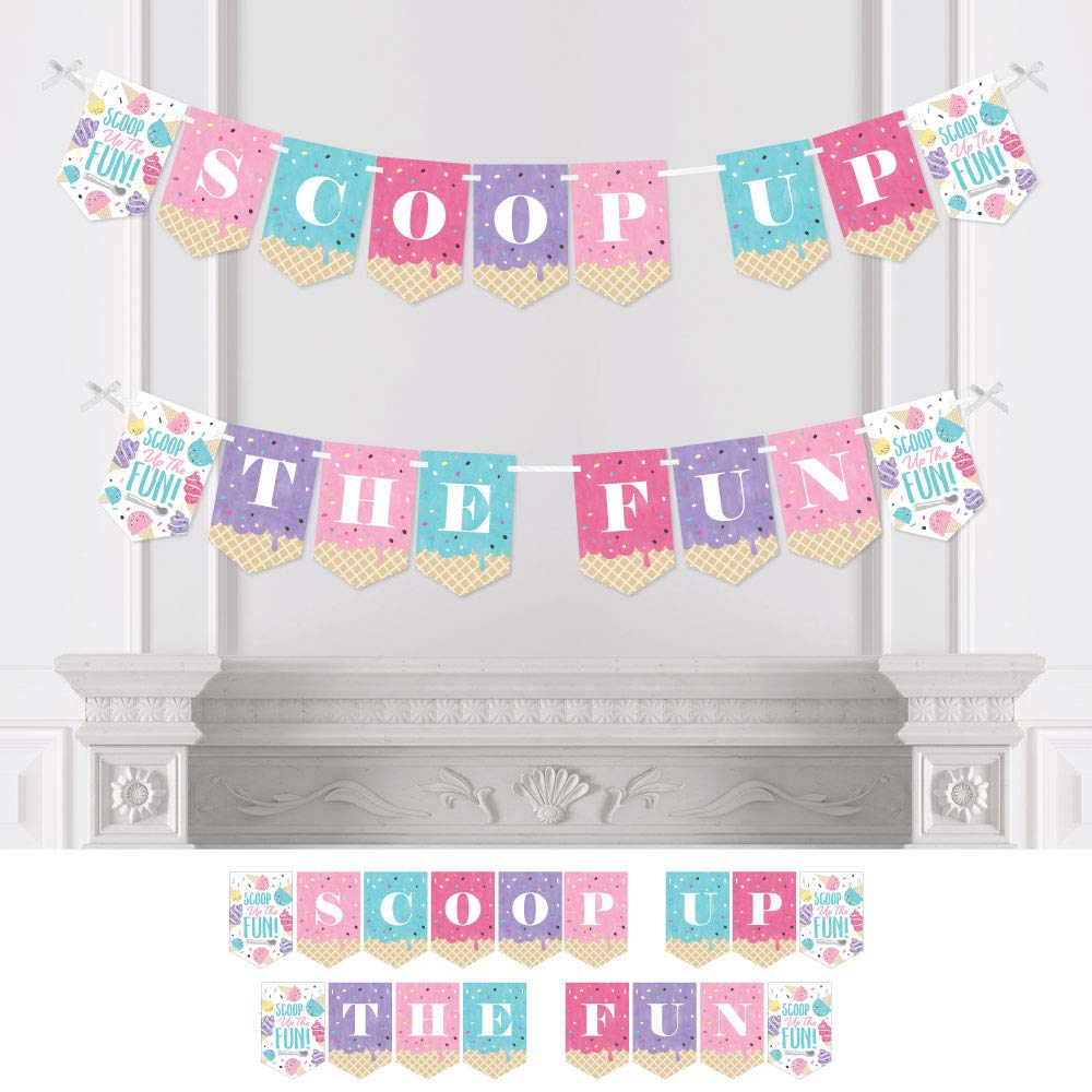 Big Dot of Happiness Scoop Up the Fun - Ice Cream - Sprinkles Party Bunting Banner - Party Decorations - Scoop Up the Fun