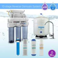 Max Water 10 Stage Home Reverse Osmosis System/Reverse Osmosis System/RO Water Filtration System Under Sink RO Water Purifier 50 GPD PH 5-1 Alkaline Water Filter with CP M Faucet