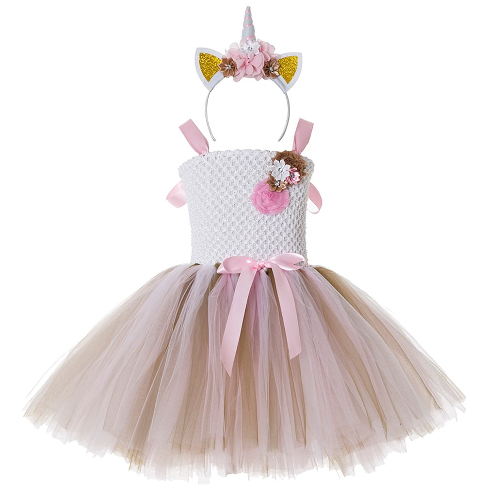 CIELARKO Girls Unicorn Tutu Dress Children Birthday Party Dresses Cosplay Costumes with Headband Outfits Set