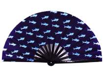 Amajiji Large Folding Hand Rave Fan Clack Fans for Women/Men, Chinease/Japanese Bamboo and Nylon-Cloth Hand held Folding Fan, Hand Fan Festival Fan Gift Fan Craft Fan Dance Fan (Shark)