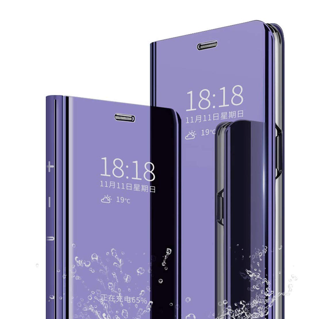 LANYOS Compatible iPhone 11 Pro Max Flip Case,Full Body Protection Clear S-View Mirror Hard PC Electroplate Plating Cover Built in Kickstand (6.5 inch 2019) (Purple)