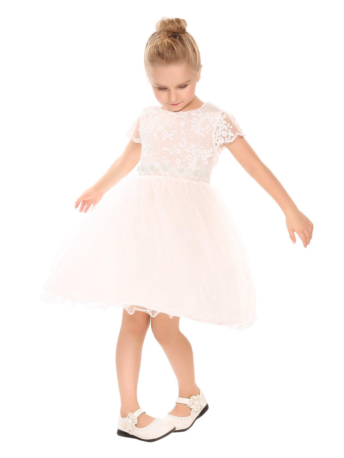 Arshiner Girls Lace Dress Princess Party Tutu Dresses White 140