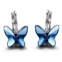 Brilla Gifts for Women Hoop Earrings Stud Fashion Jewelry with Swarovski Elements Crystal (Butterfly Dream/Heart Love/Periwinkle Flower)