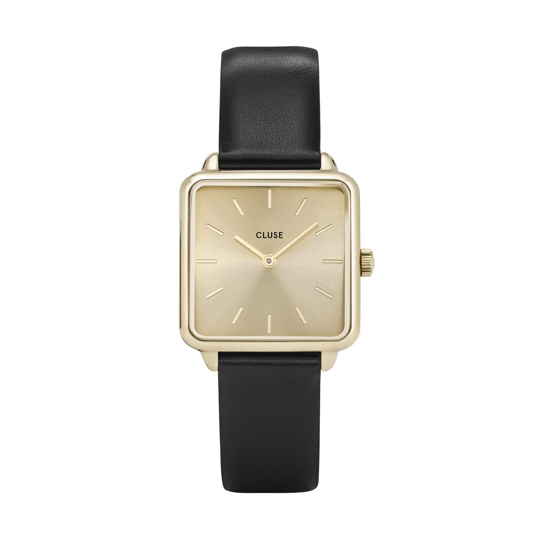 CLUSE LA TÉTRAGONE Gold Gold Black CL60004 Women's Watch 29mm Square Dial Leather Strap Minimalistic Design Casual Dress Japanese Quartz Elegant Timepiece