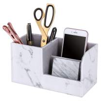 Z PLINRISE Marbling Desk Supplies Organizer, 3 Slot Leather Stationery Storage Organizer - Pen Holder, Remote Control Holder and Business Card Stand