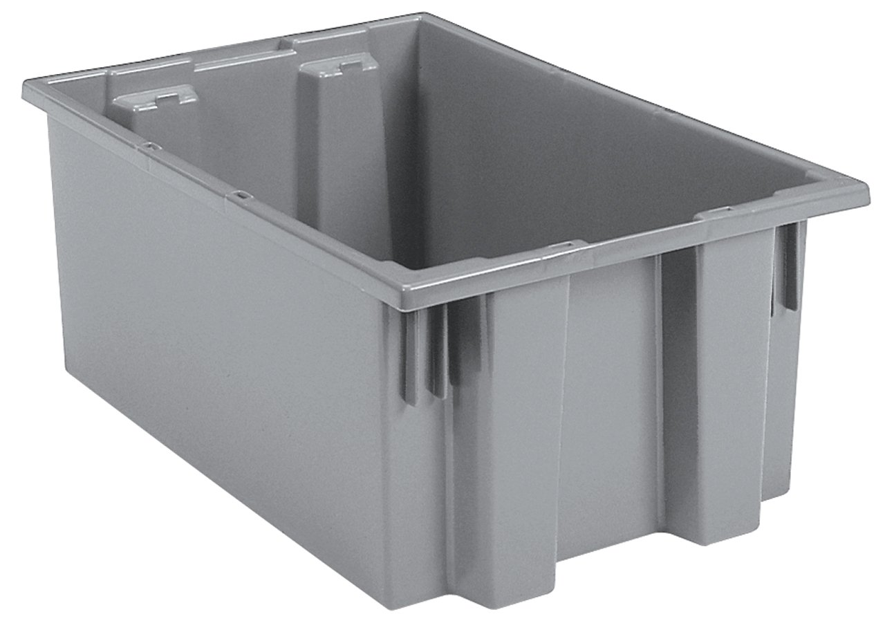 Akro-Mils 35190 Nest and Stack Plastic Storage and Distribution Tote, 19.5-Inch L by 15.5-Inch W by 10-Inch H, Grey, Case of 6