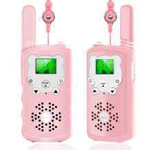 XBUTY Walkie Talkies for Kids - 22 Channels 2-Way Radio with 3 Mile Long Range and Clear Voice Technology (Pink)
