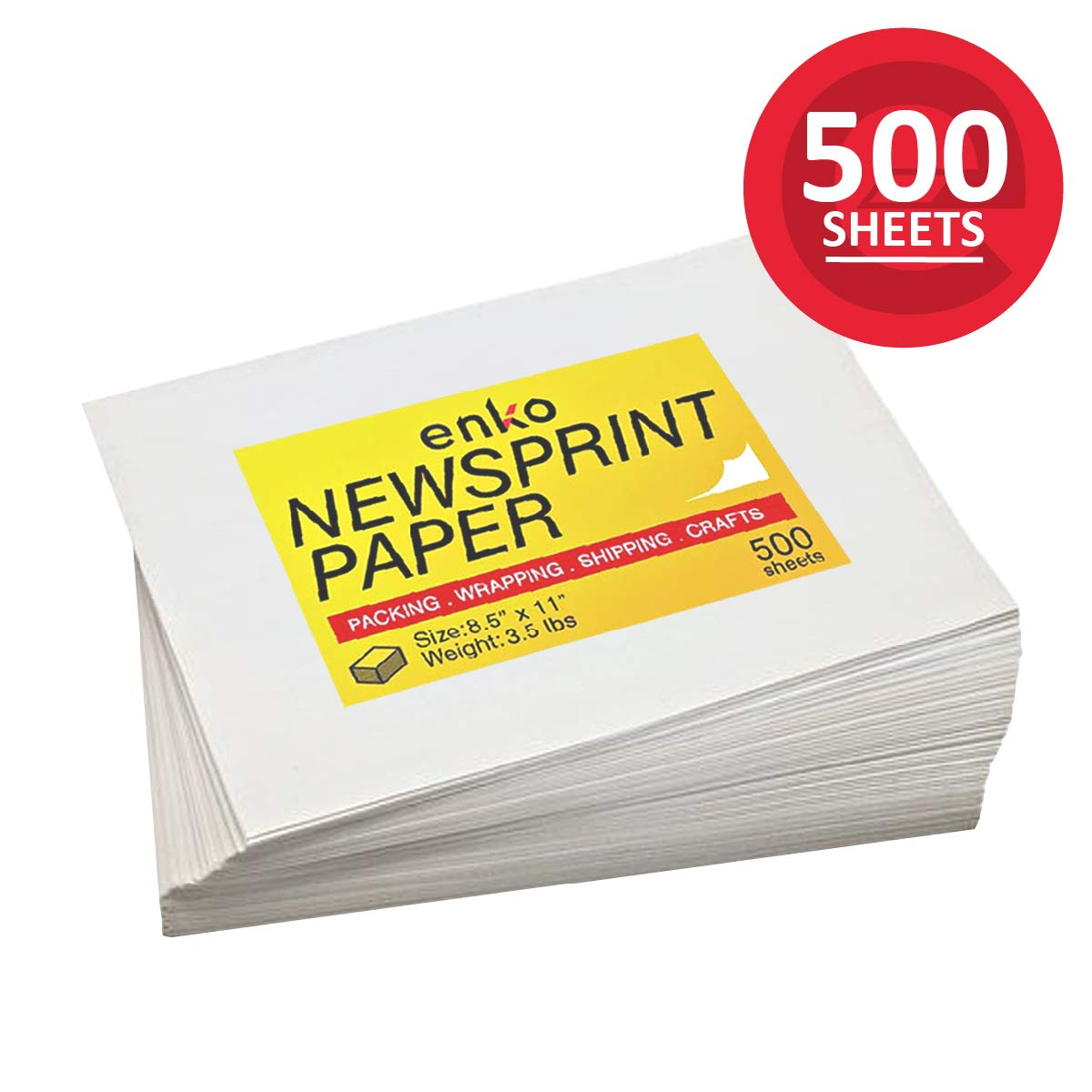 enKo - Newsprint Drawing/Sketch/Packing/Moving Paper Sheets (500 Sheets, 8.5 x 11 Inch)