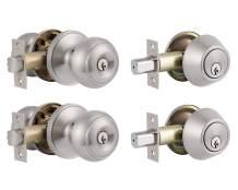 Probrico Front Door Entry Handles Lockset and Single Cylinder Deadbolt Combination Set, Satin Nickel (2 Pack) Keyed Alike