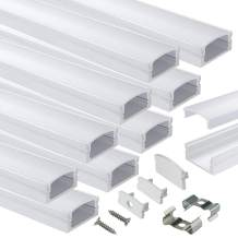 Muzata LED Channel System with Milky White Cover Lens, Silver Aluminum Extrusion Profile Housing Diffuser Track for Strip Tape Light 10PACK 1M/3.3FT U Shape U1SW WW 1M, LU1