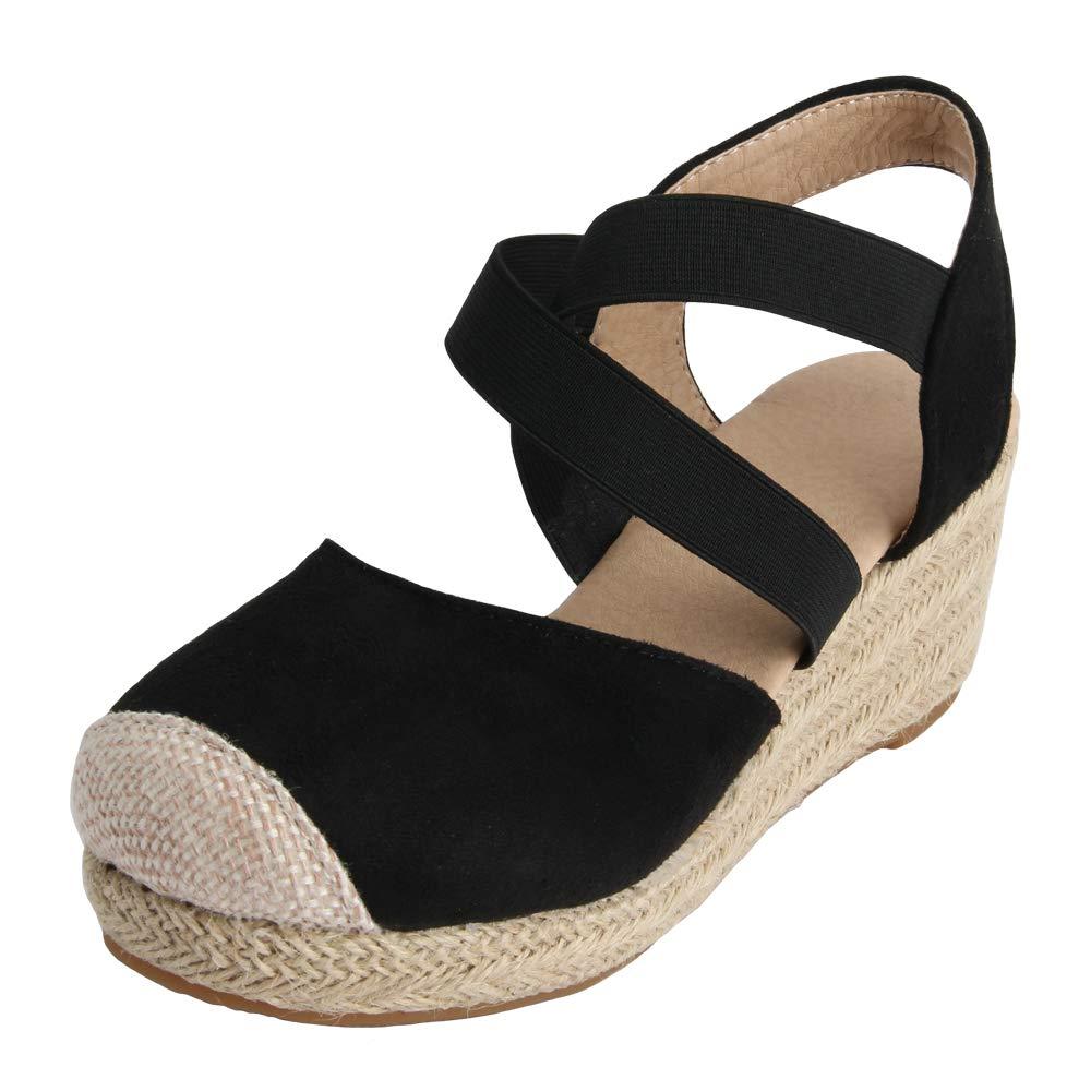 MEOTINA Women Sandals Espadrille Platform Wedge Heel Fashion Closed Toe Summer Shoes