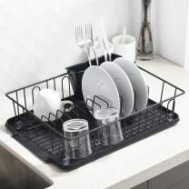 """VCCUCINE Modern Kitchen Metal Wire Black Dish Drying Rack, Dish Rack with Drainboard and Cutlery Cup Utensil Organizer Holder- 16.5"""" x 12.2"""" x 3.9"""""""