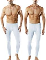 TSLA 2 Pack Men's Thermal Underwear Pants, Heated Warm Fleece Lined Long Johns Leggings, Winter Base Layer Bottoms