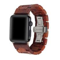 Wooden Watch Strap Band 38mm/40mm with Stainless Steel Butterfly Buckle Compatible for iWatch Series 1 2 3 4 5(Red 38mm/40mm)