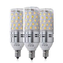 E12 LED Bulbs, 12W LED Candelabra Bulb 80 Watt Incandescent Equivalent, 1080lm, Decorative Candle Base E12 Corn Non-Dimmable LED Chandelier Bulbs, Warm White 3000K LED Lamp, Pack of 3